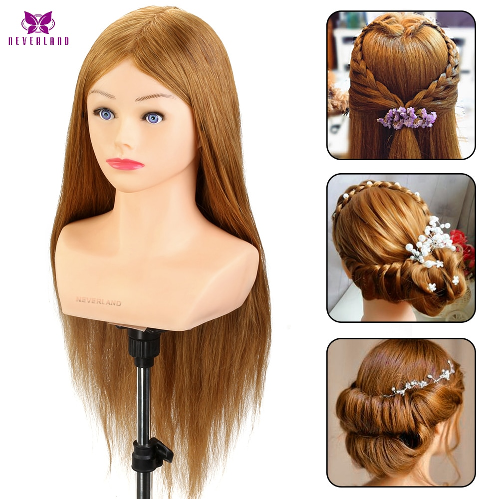 24'' 100% Real Hair Training Head with Shoulder Hairstyles Dummy Doll Mannequin Head for Hairdresser Manikin Head