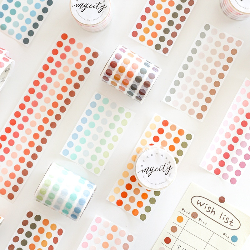 Color dots Washi Tape Decorative Adhesive Masking Tape For Stickers Scrapbooking DIY round Stationery Tape School Office Supply