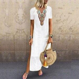 Maxi Dresses For Women Print V-neck Side Slit Bohemian Dresses Shift Boho Maxi Dress Plus Size Ladies Dresses Платье Женское