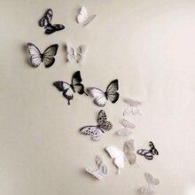 18 teile/satz Spiegel Wand Aufkleber Aufkleber Schmetterlinge 3D Spiegel Wand Art Home Dekore Schmetterling Kühlschrank Wand Aufkleber Auf Verkauf 9,25