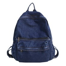Simple Male Denim Casual Backpack Unisex College Student School Backpack Large Capacity Outdoors Tra