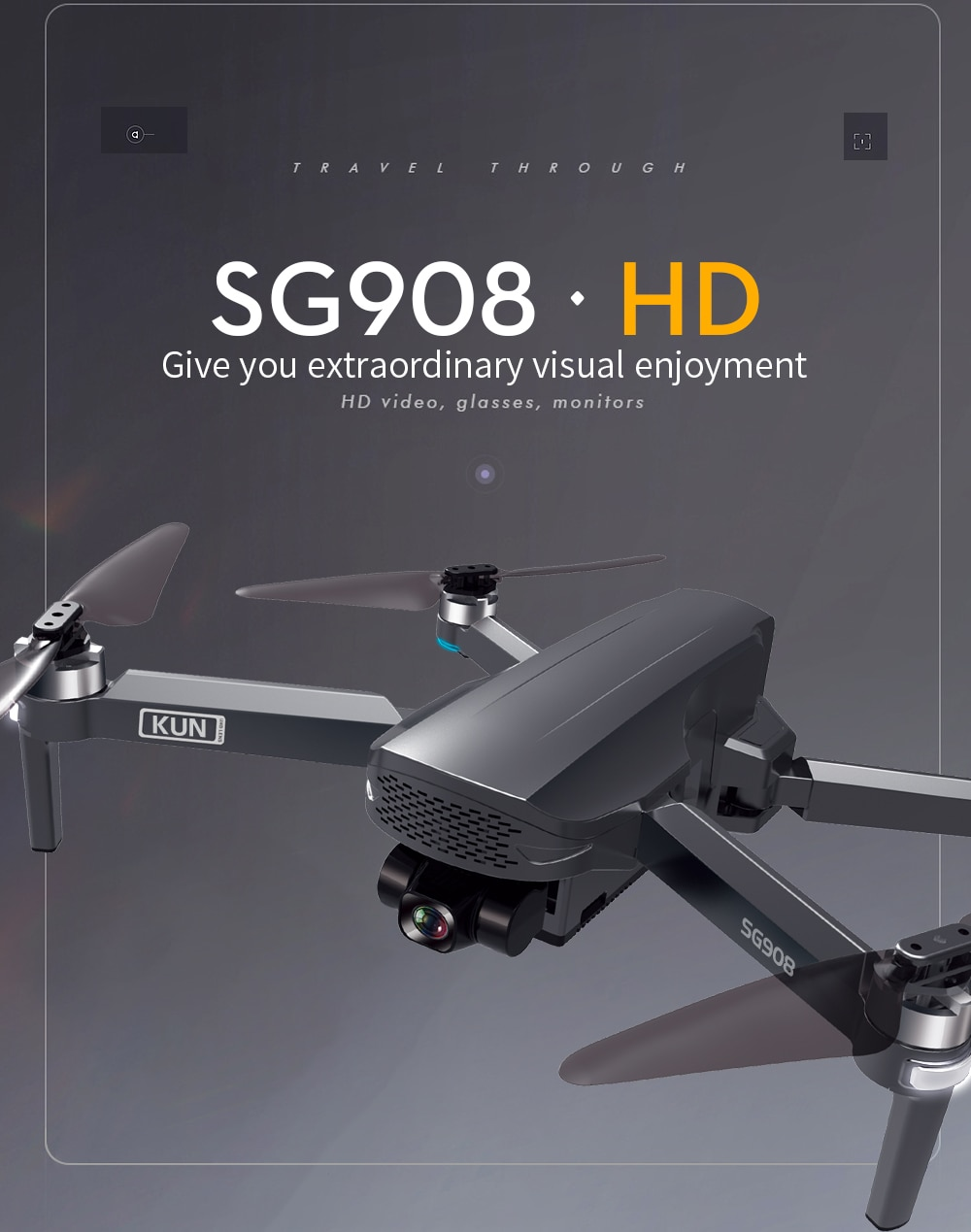 Drone 4K GPS Professional with 2-Axis Gimbal Camera 1200m Long Distance Quadcopter
