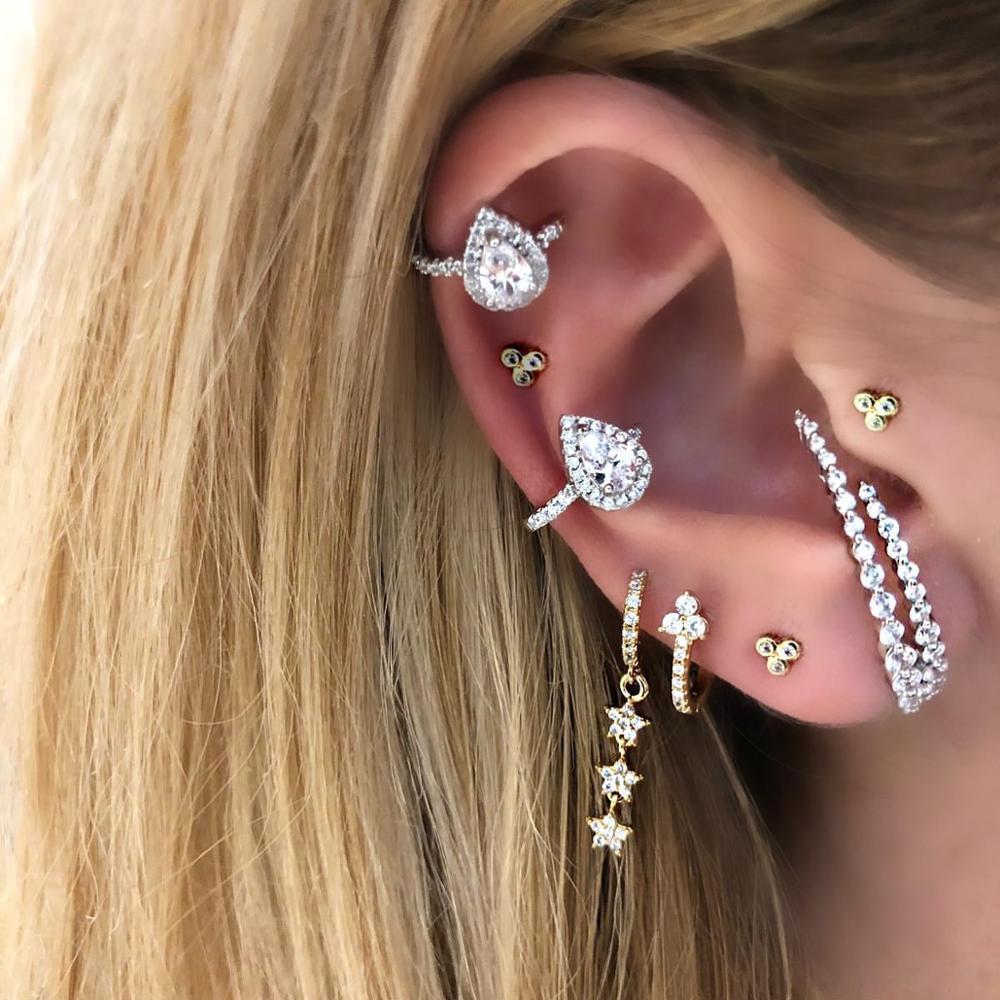 white red green blue colorful teardrop cubic zirconia cz no piercing ear cuff clip on earring 1 piece
