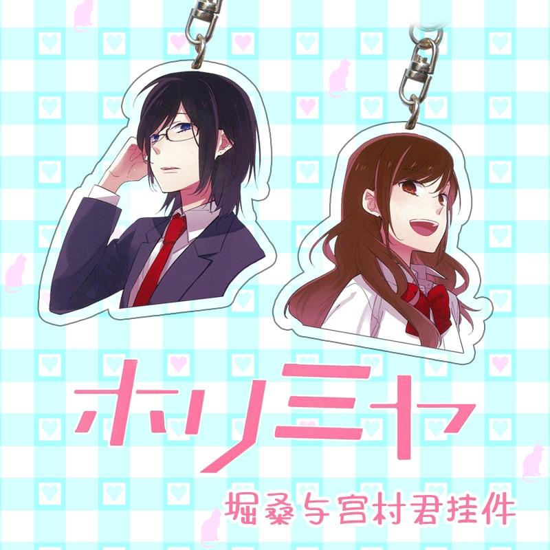 Novo anime acrílico chaveiro hori-san para miyamura-kun ova miyamura izumi hori kyoko cartoon pingente itabag bonito chaveiro cosplay