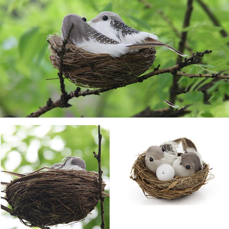 8 Uds. Decoración del día de Pascua Artificial Nido de Pájaro ornamento modelo Nido de Pájaro pájaro conjunto de huevos hogar suministros para fiesta de Pascua A35