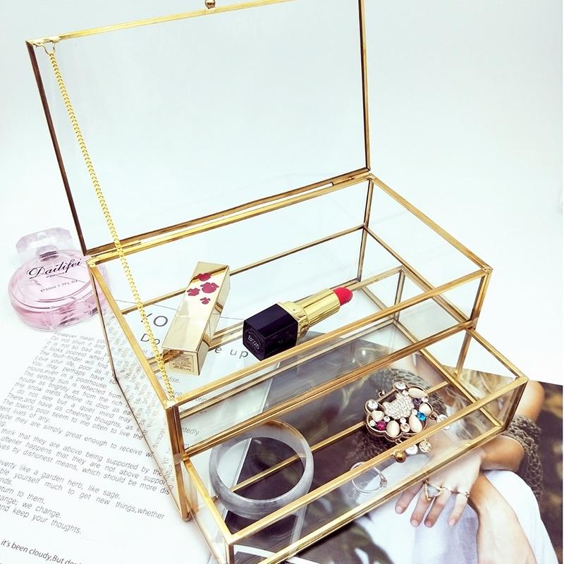 Vintage Glass Cosmetic Storage Box Drawer Organizer Desktop Dust Proof Cotton Swab Tissue Box Dressing Table Shelf Decor Holder