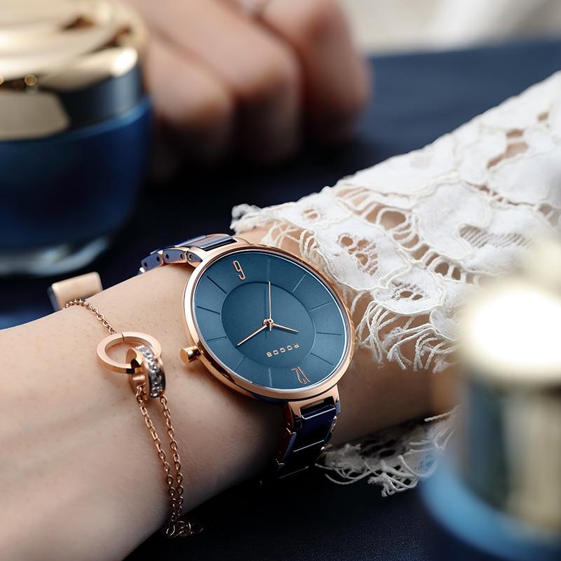 ROCOS Women's Ceramic Quartz Watch 3D Concave Blue Dial Modern Simple Fashion Waterproof Wristwatch Small Slim Lady Dress Clock enlarge