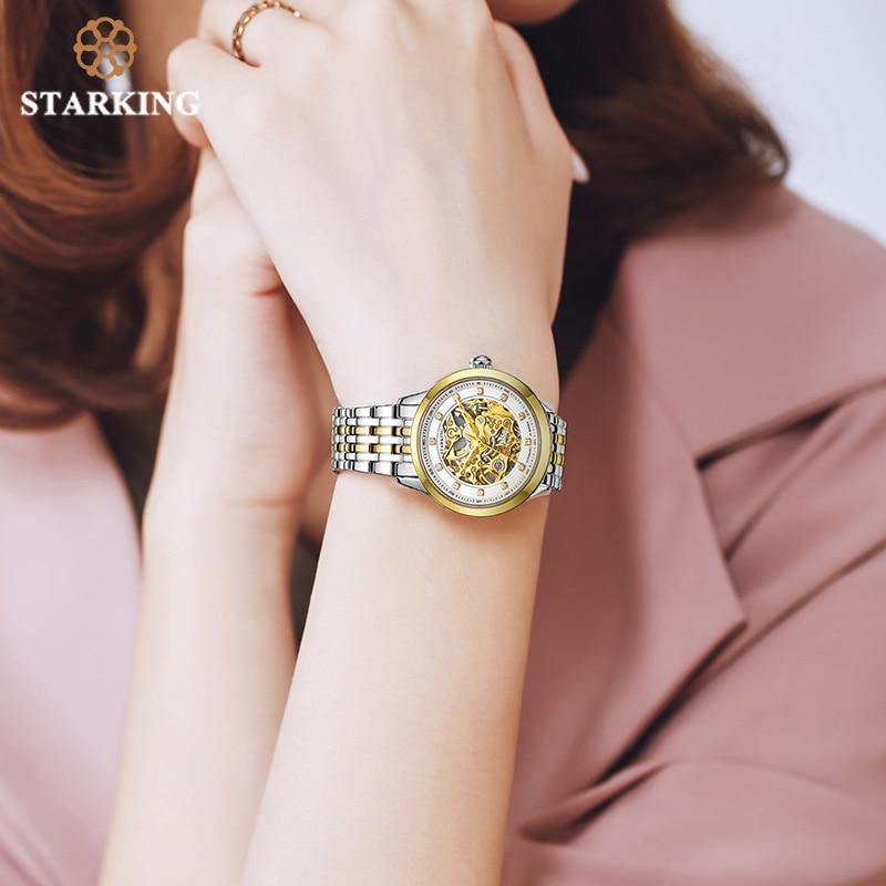 STARKING Women Watch Skeleton Automatic Mechanical Wrist Watch Female Golden Design Women Fashion Casual Leather Watches Klockor enlarge