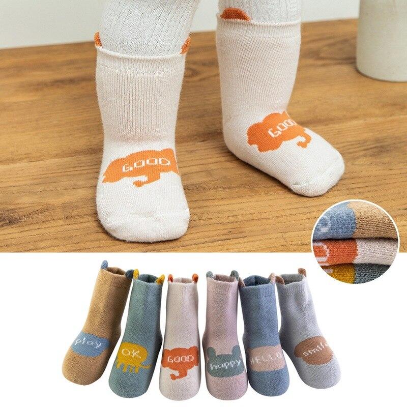 6 pares de Calcetines antideslizantes estéreos gruesos para niños de otoño e invierno, calcetines de toalla infantil para bebés, calcetines de dibujo de letra terry