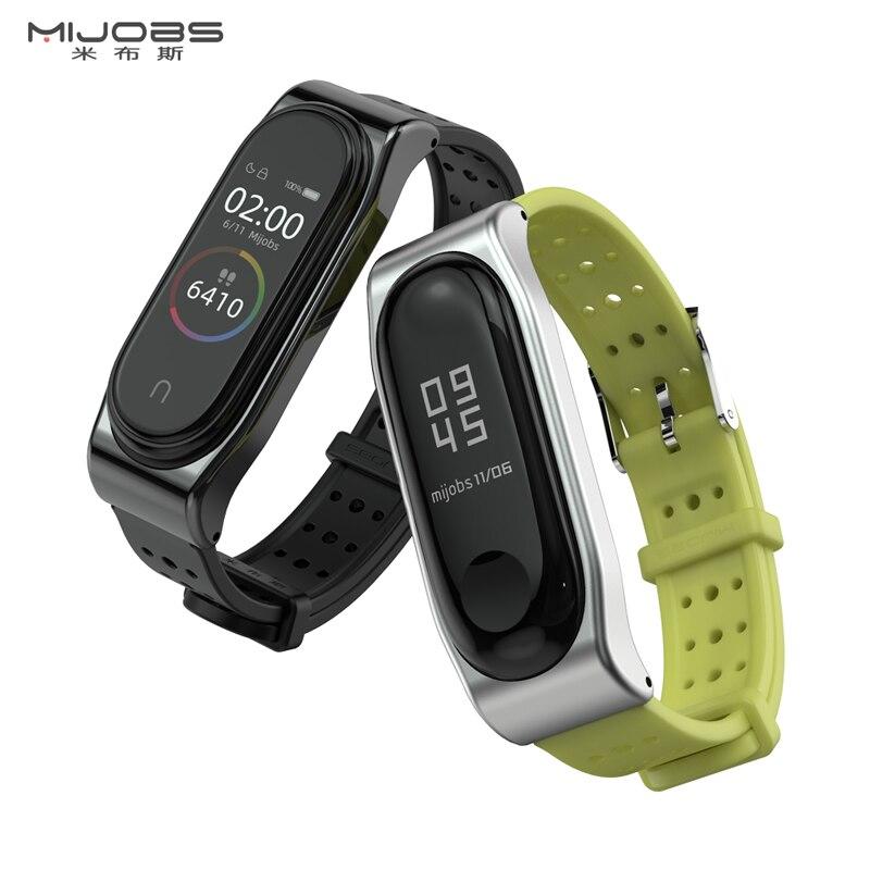 Mi jobs mi Band 3 4 pulsera de Correa para Xiaomi mi Band 3 4 reloj inteligente Correa de silicona Metal mi band 3 4 NFC Correa