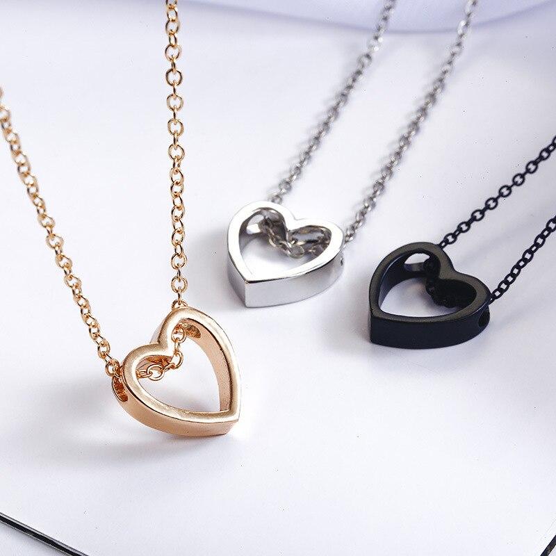 В-европейском-и-американском-стиле-Модные-Простые-открытые-в-форме-сердца-хорошие-украшения-Цепочка-с-кулоном-дикий-золотого-и-серебряно