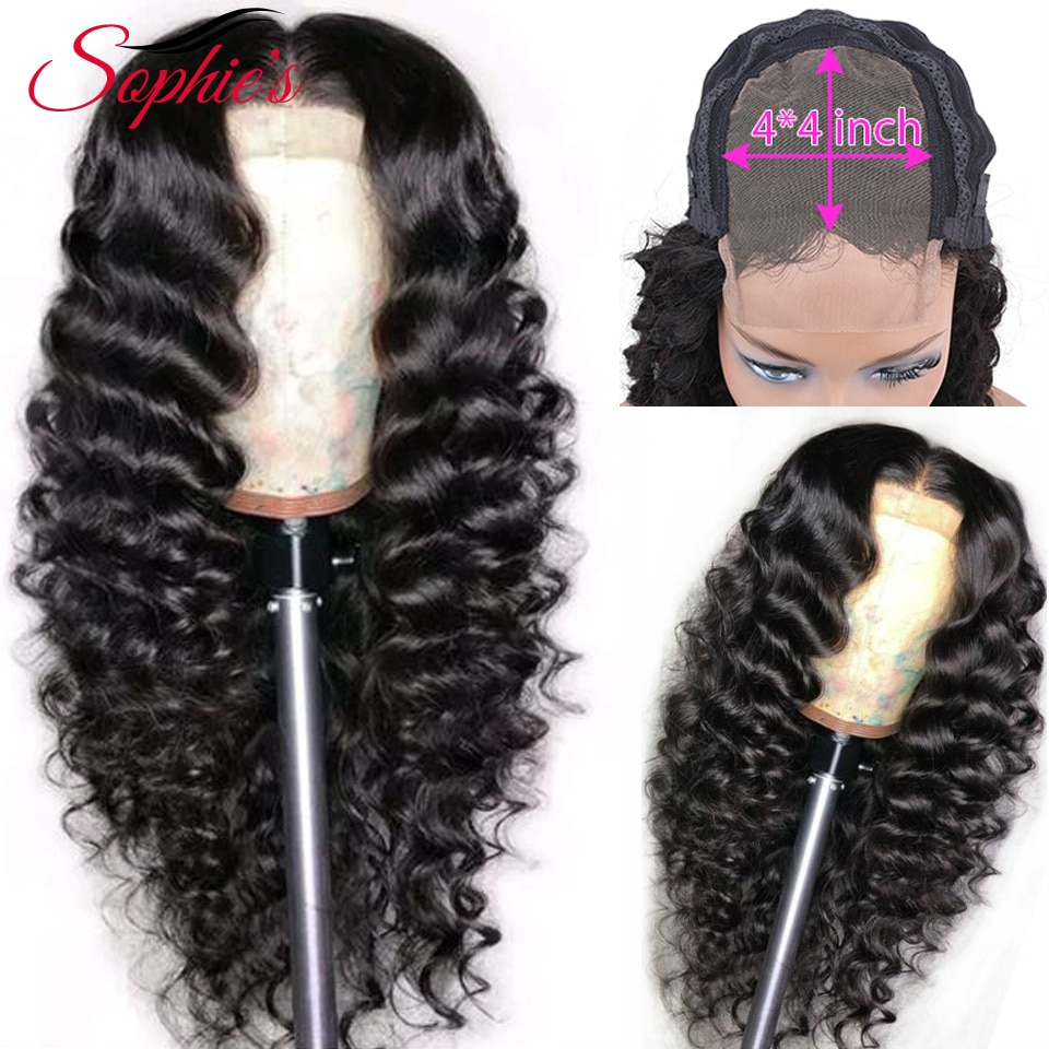 Sophies Deep Wave 4*4 Lace Closure Human Hair Wigs For Black Women Pre Plucked Hairline With Baby Ha