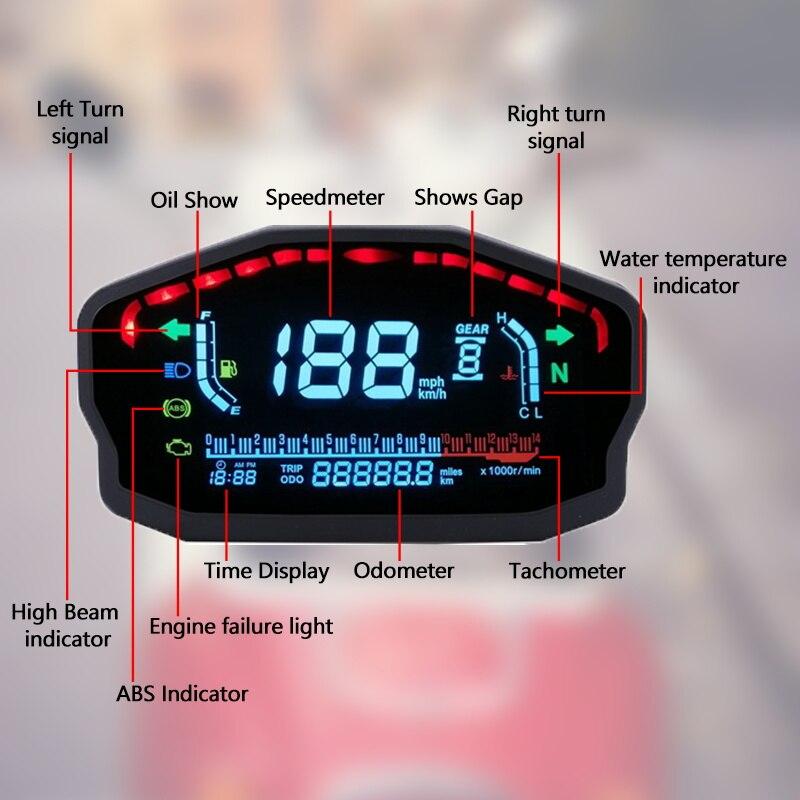 Universal Motorcycle LED LCD Speedometer Digital Backlight Waterproof Odometer Tachometer For 1,2,4 Cylinders Motor Electronics