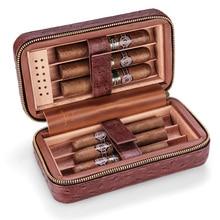 Travel Leather Cigar Humidor Case Set Humidifier Cedar Wood Portable Cigar Box Holder Tray For Cohiba Cigar CLA-T113-2