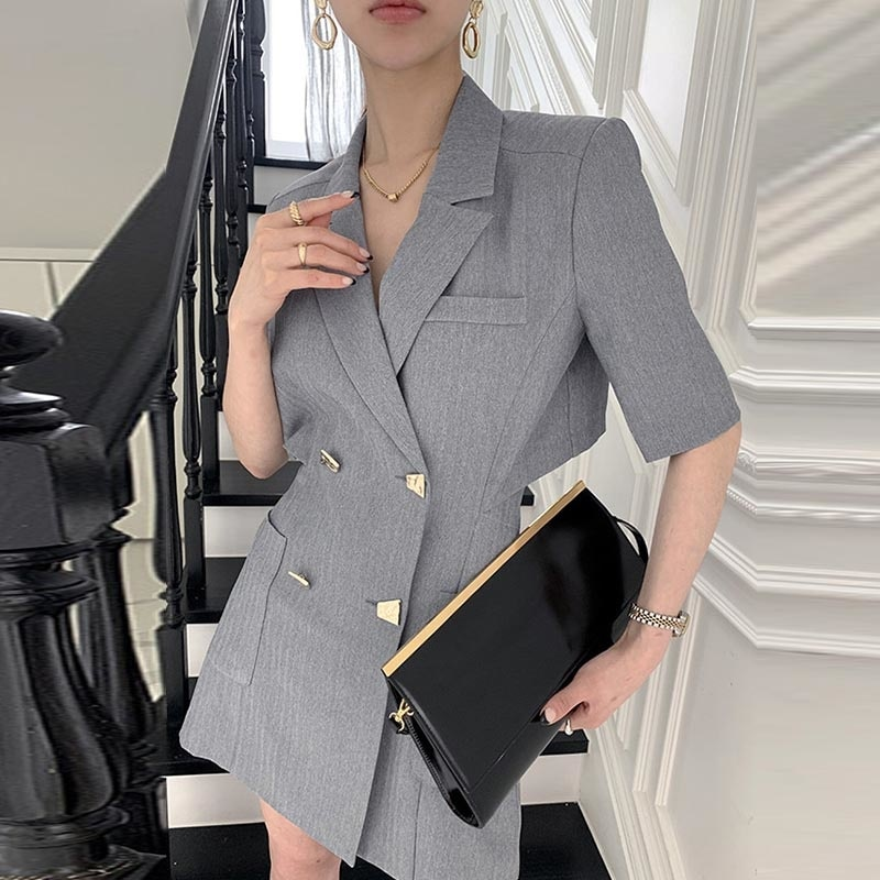 Korean Chic Dress Summer Style Suit Collar Chic Dress Double Breasted Care Back Hollow Short Sleeve