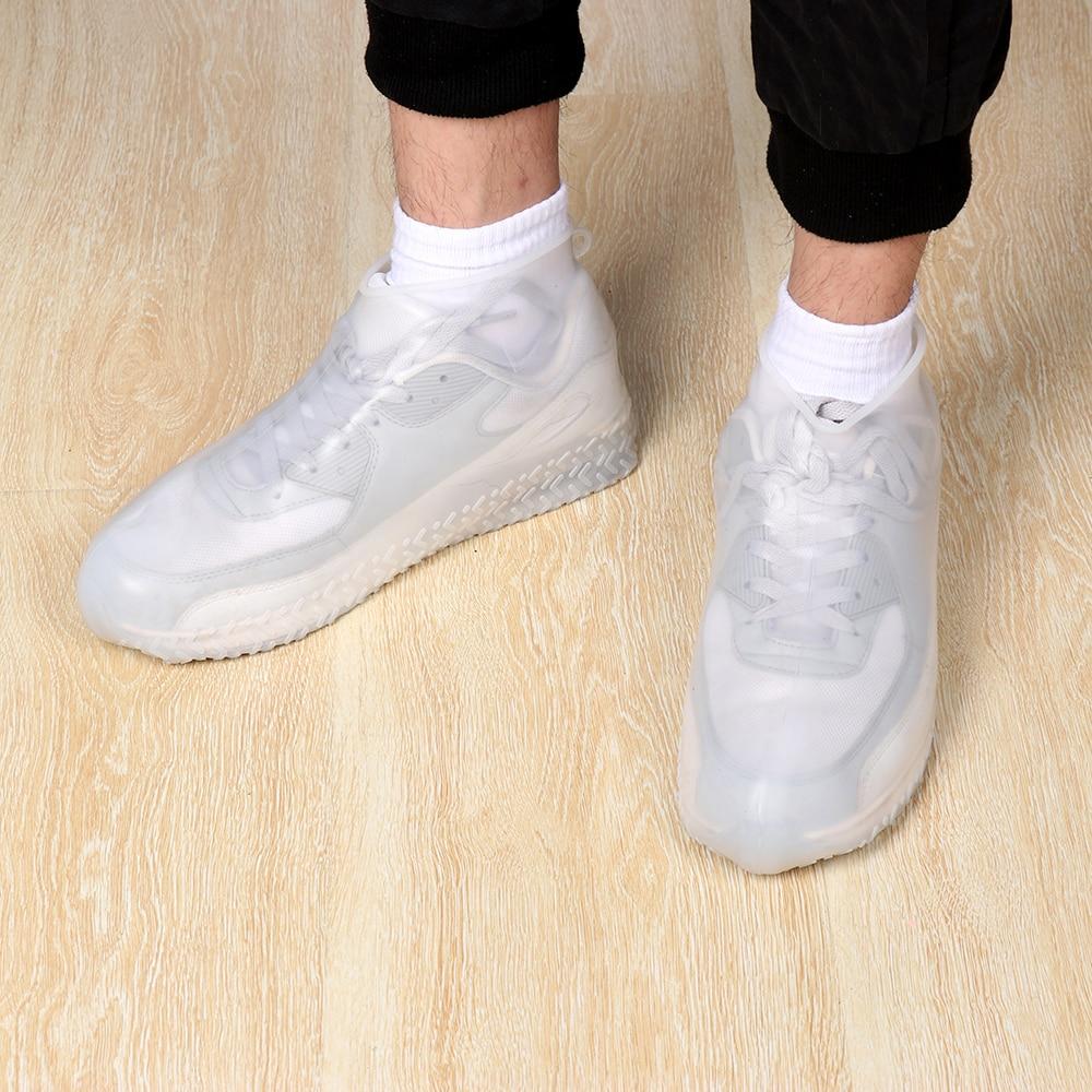 3 tamaños nuevo blanco impermeable cubierta de zapato reutilizable de látex de silicona al aire libre a prueba de lluvia antideslizante de senderismo cubre