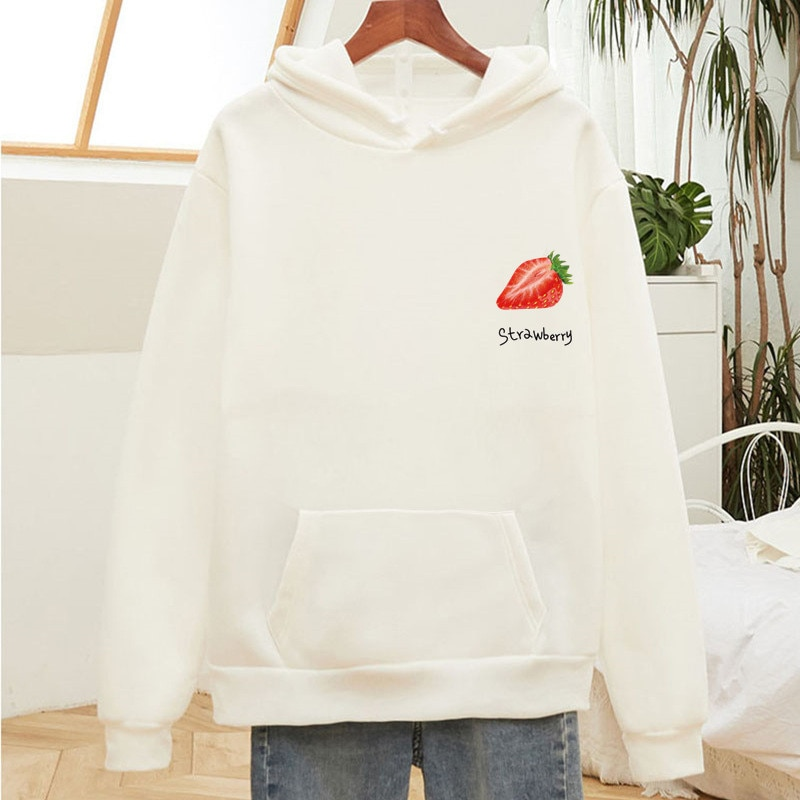 Strawberry Print Oversized Sweatshirt Woman with Hood White Cute Kawaii Harajuku Hoodie Long Sleeve Kawaii Womens Tops Clothes