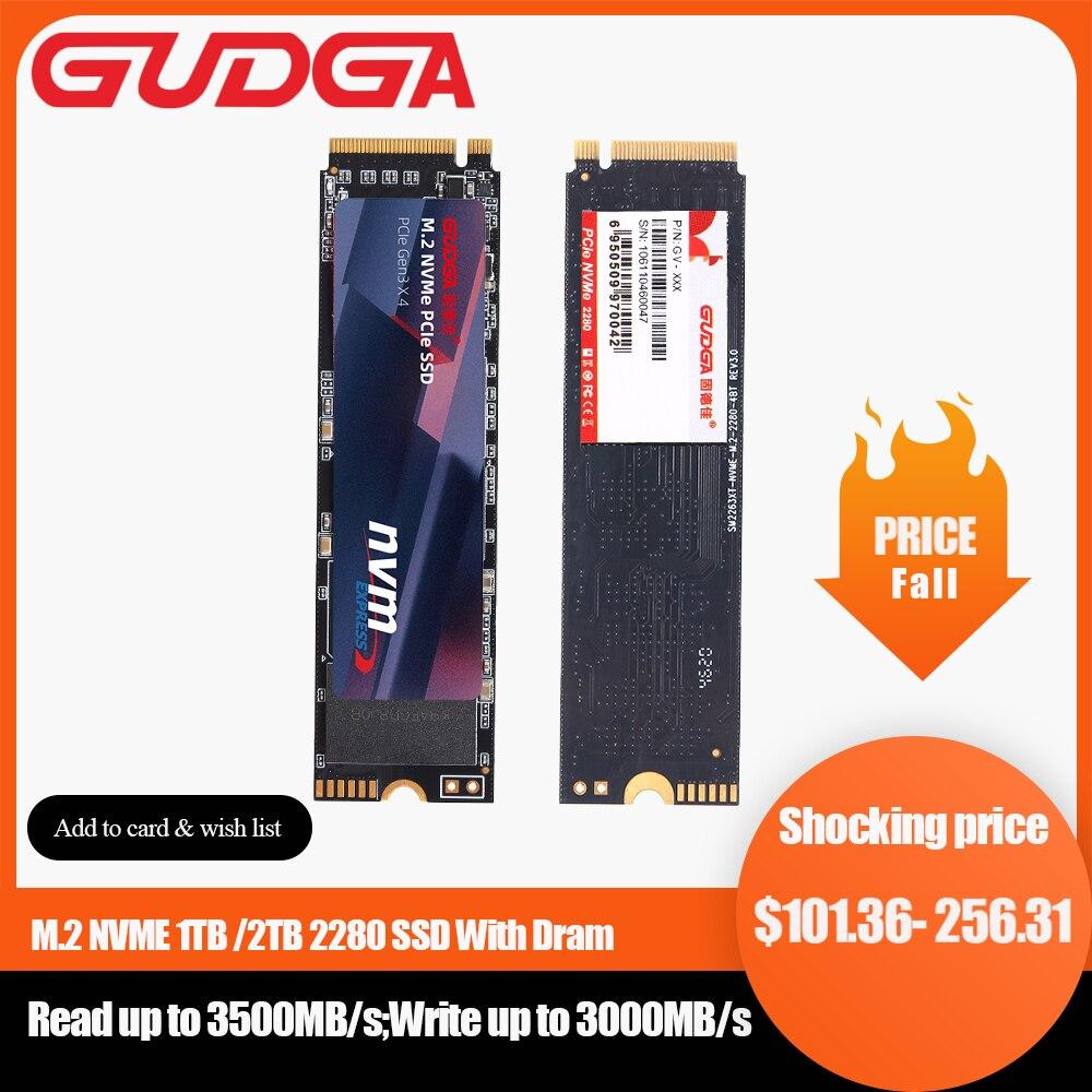 GUDGA M2 NVMe Pro SSD مع Dram M.2 PCIE 3.0x4 محرك الحالة الصلبة الداخلية 2280 قرص صلب 1 تيرا بايت 2 تيرا بايت لعملات شيا BTC التعدين