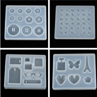 1pc diy epoxy pendant craft tool handmade silicone mold resin buttons heart letter pendant jewelry making mould