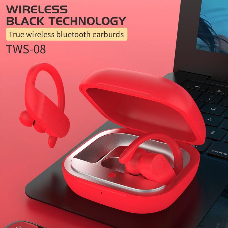 Auriculares inalámbricos Bluetooth TWS, auriculares estéreo con caja de carga portátil, auriculares con micrófono para teléfono móvil, auriculares TWS-08