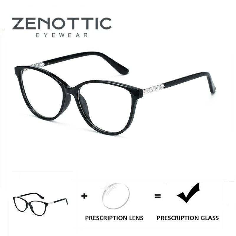 ZENOTTIC Progressive Prescription Glasses Women Cat Eye Optical Spectacle Acetate Myopia Blue Ray Ph