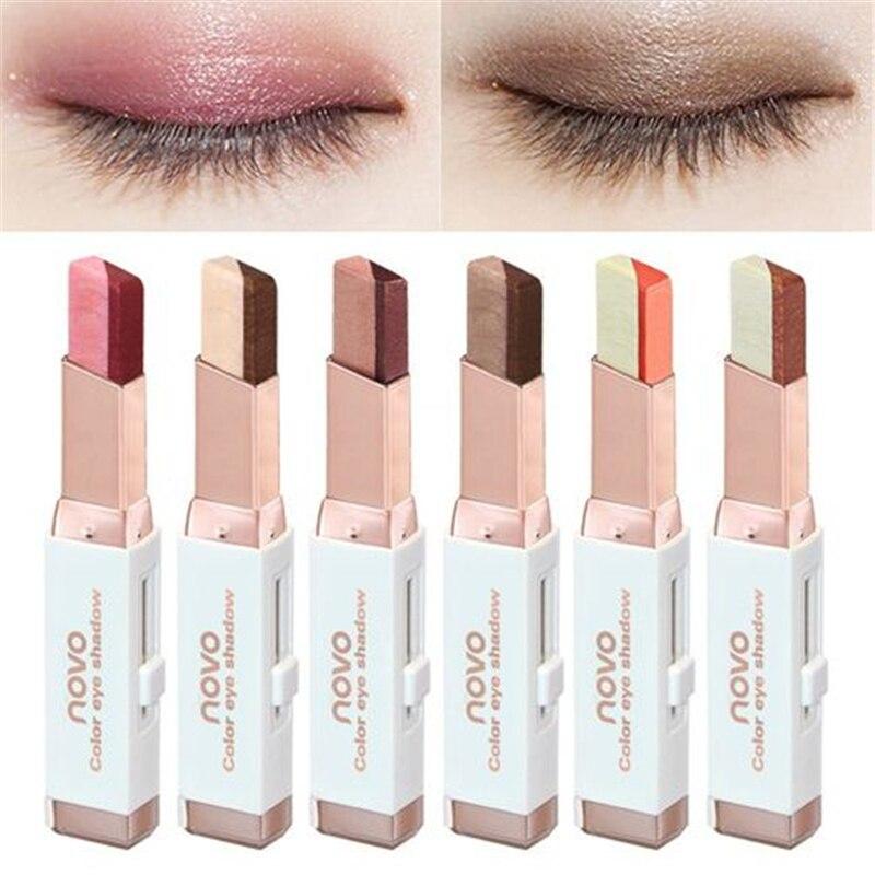NOVO Eye Makeup Shimmer Earth Color Eye Shadow Cream Pen Double Color Stereo Gradient Velvet Eyeshadow Stick Sombra