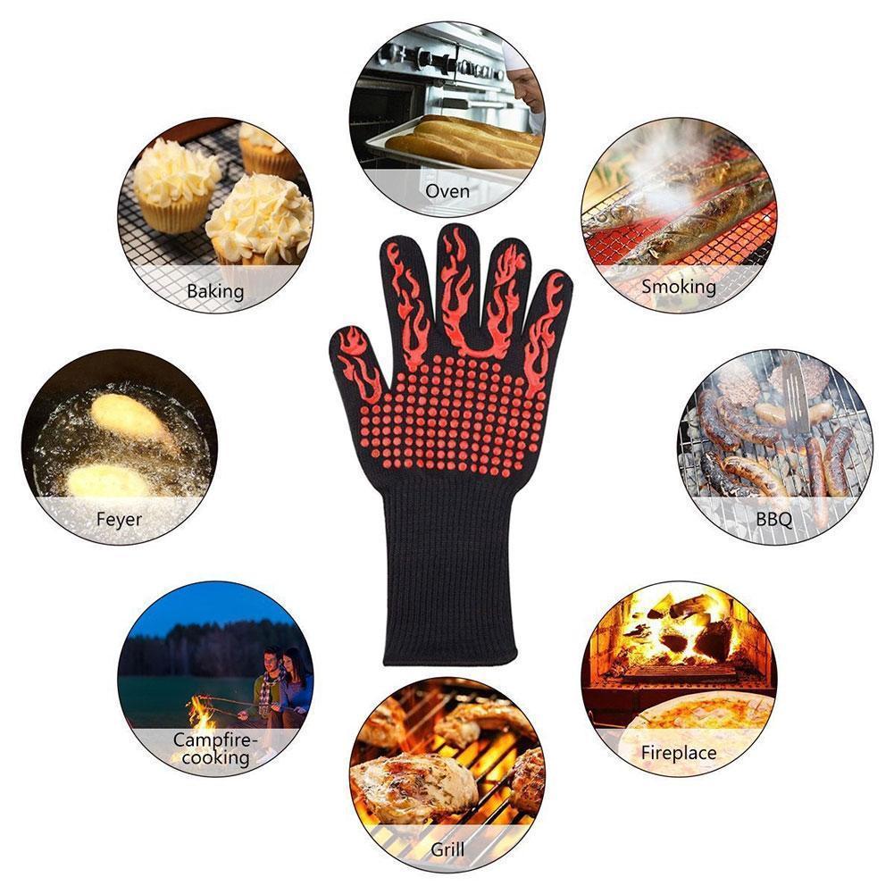 Resistente ao calor silicone grosso cozinhar assar grelhar calor extremo centigrade mitts pate 300-500 resistente bbq e luvas o v0o8