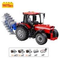 cada master 117 rc tractor technical building block moc farmer machinery multi function vehicle car bricks model toys for boys