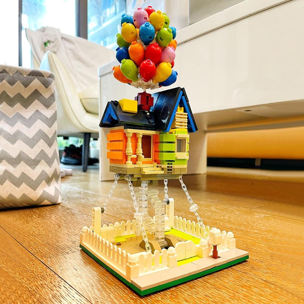 Ideas Creator Expert Street View Animation flying Balloon House Modular MOC Brick 555Pcs Model Building Blocks Friends Kids Toys
