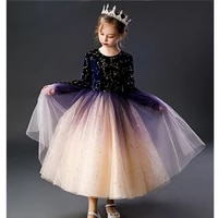 princess girls sequins gradient performance dress formal long sleeve polka dot christmas princess party prom dress for children