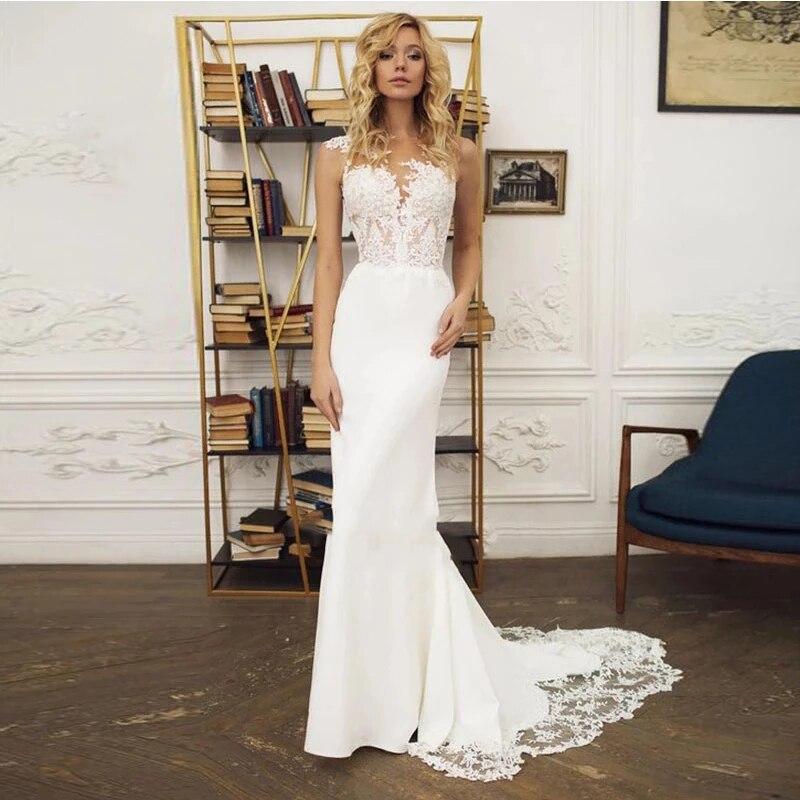 Promo Wedding dress Mermaid wedding dress v-neck sleeveless simple wedding gown lace chiffon buttons beautiful bridal dresses