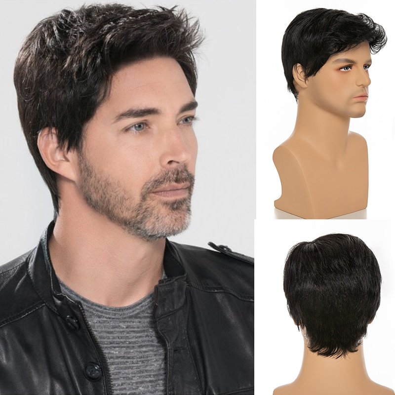 YOUR BEAUTY Short Striaght Human Blend Hair Fluffy Wig For White Men Hair Fleeciness Realistic Bob Wigs Middle-aged Daily Use