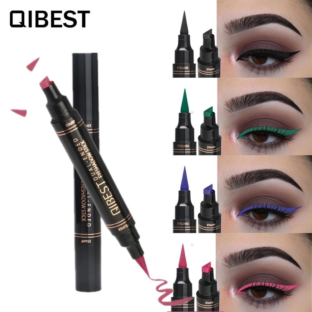 Lápiz de sello de delineador de ojos de Color líquido Qibest, delineador de ojos mate de 12 colores, marcador de ojos impermeable, negro, azul, verde, marrón, Lápiz Delineador de ojos