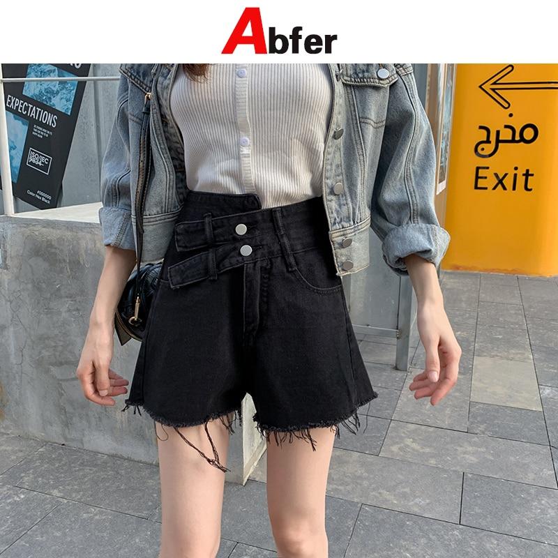 Abfer Short Jeans Women Denim Shorts Femme 2021 Summer Tassel Short Jeans Loose Black Double Button High Waist Jeans Y2k