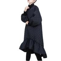 autumn winter new loose ruffled women dress 2021 large size turtleneck thick black long sleeved women long dress nbh18
