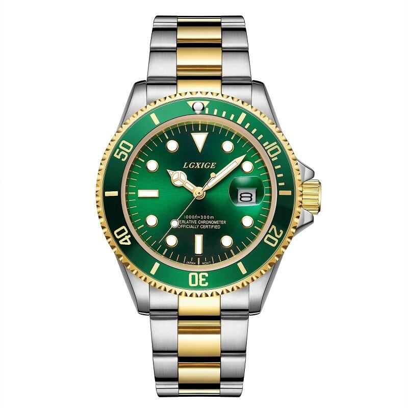 LGXIGE, relojes de marca dorada para hombre, relojes de cuarzo de lujo de acero completo, relojes de pulsera de negocios para hombre, reloj masculino