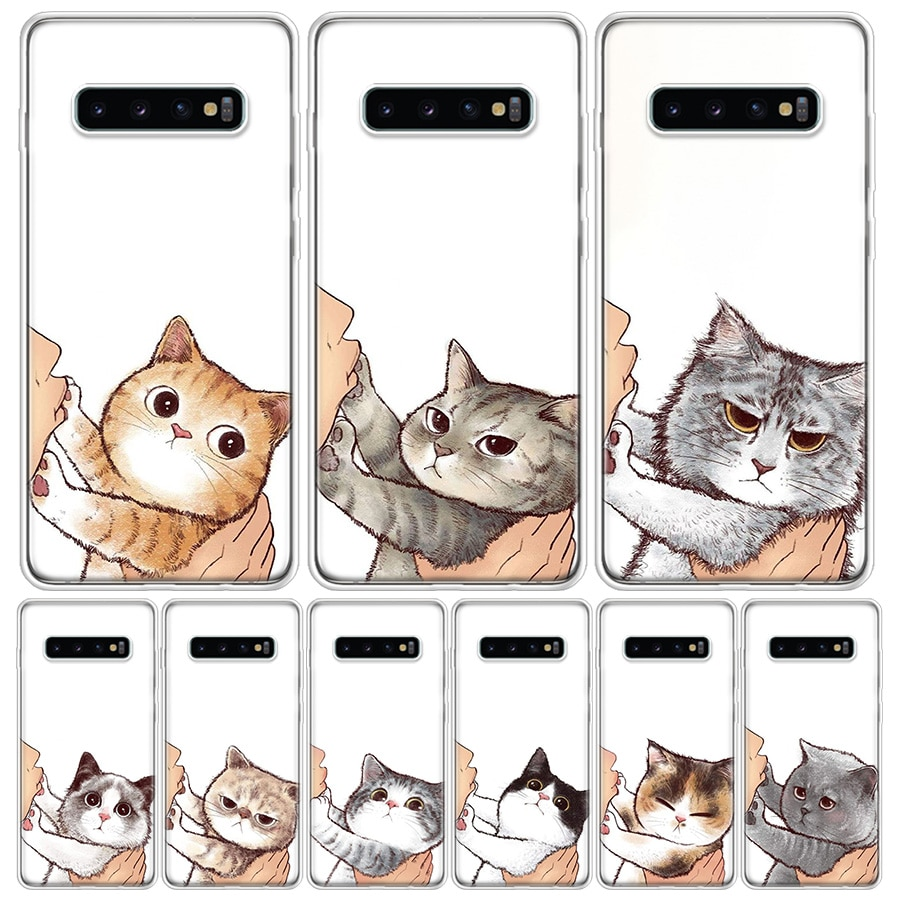 Fashion Kiss Cat Kitten Phone Case For Samsung Galaxy S10 S20 Ultra Note 10 9 8 S9 S8 Plus Pro Lite