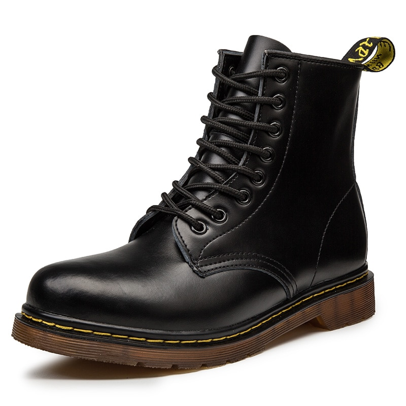 Coturno mulheres martins sapatos de couro de alta qualidade moda inverno quente sapatos de neve dr. botas de motocicleta preto casal unisex doc botas