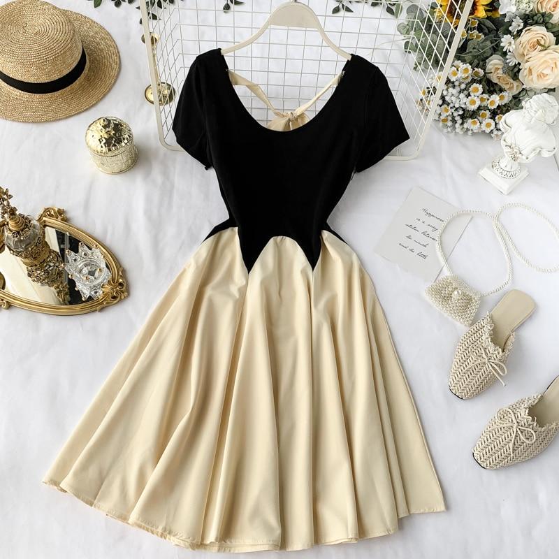Sommer Kurzarm A-line Kleid süße tutu kleider dame A-line sonne kleid