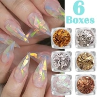 6 colorsbox 3d nail jewelry slim color irregular foil sticker symphony candy cellophane fragment sequins nail jewelry
