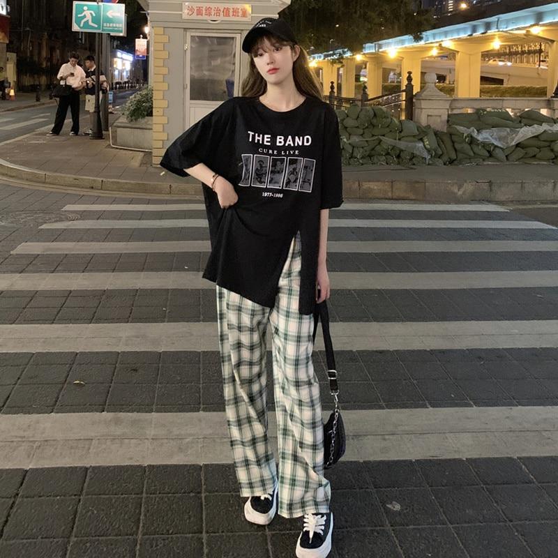 Women's Sets Oversized Medium Long Black Short Sleeve T-shirt Women's Summer 2021 New Design Sense Of Minority Split Loose Sets
