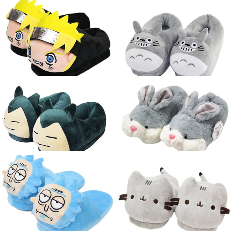 HKSNG Winter Warm Cat Bear Unicorn Rabbit Slippers Flock Flat Cute Indoor Home Pantoufle Shoes For Adults