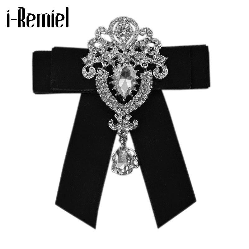 I-remiel, broche Retro de tela de lujo con lazo de cristal para hombre, novio, boda, lazos de terciopelo con diamantes de imitación para hombre, accesorios de ropa