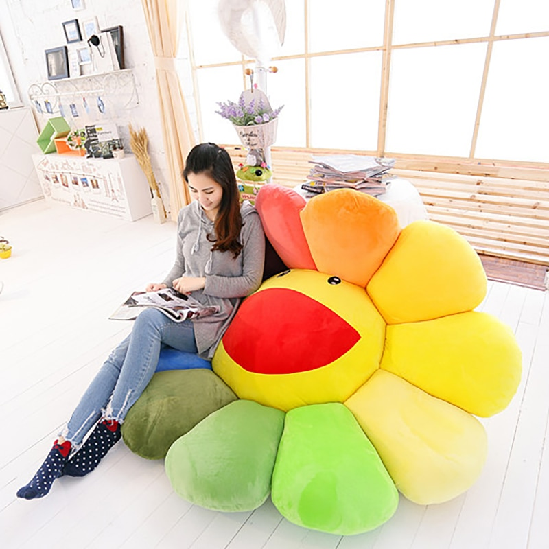 1pc super big Plush Sun Flowers creative mat Soft Toy Stuffed home Plush Mats Meditation Cushion Floor Cushions for Kids