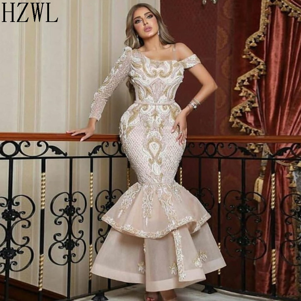 One Shoulder Long Sleeve Full Lace Formal Evening Dresses Dubai Mermaid Tiered Zipper Back Prom Dress Party Gown robe de soiree frilled sleeve brush stroke grid tiered dress