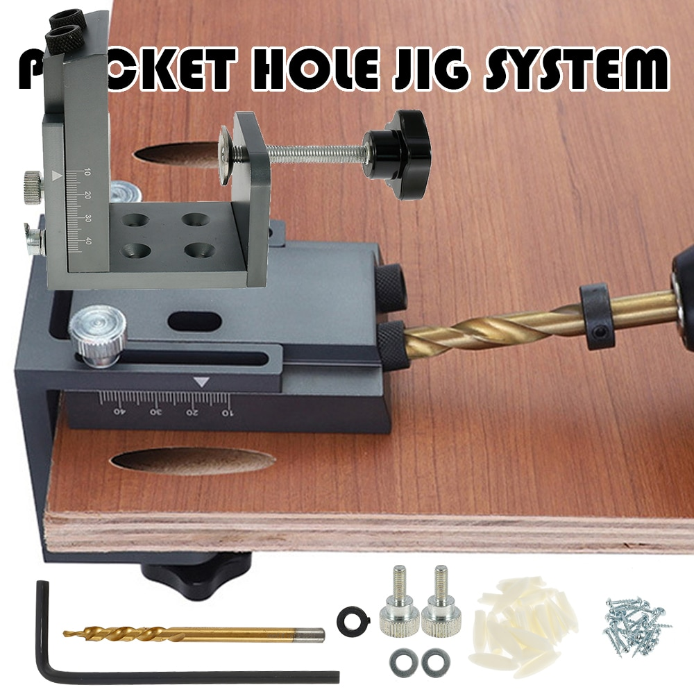 45pcs Pocket Hole Screw Jig Oblique Angle Puncher Locator Adjustable Guide Positioner Dowel Drill Joinery Kit Woodworking Tools