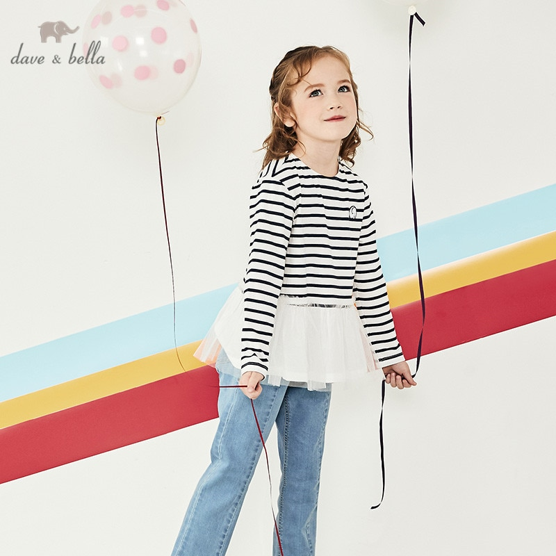 DBK12258 David bella spring 5Y-13Y ropa para niños moda de rayas de dibujos animados de malla camiseta de las muchachas de alta calidad de moda camisetas
