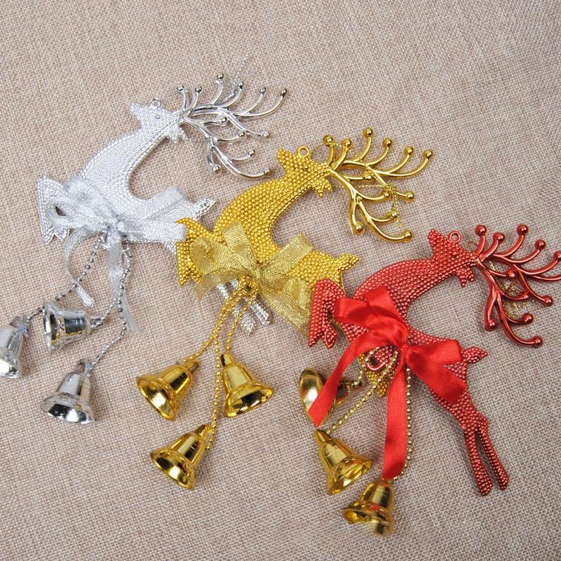 2 unids/set 22X13.5cm adornos de navidad Fawn campana de navidad decoración árbol...