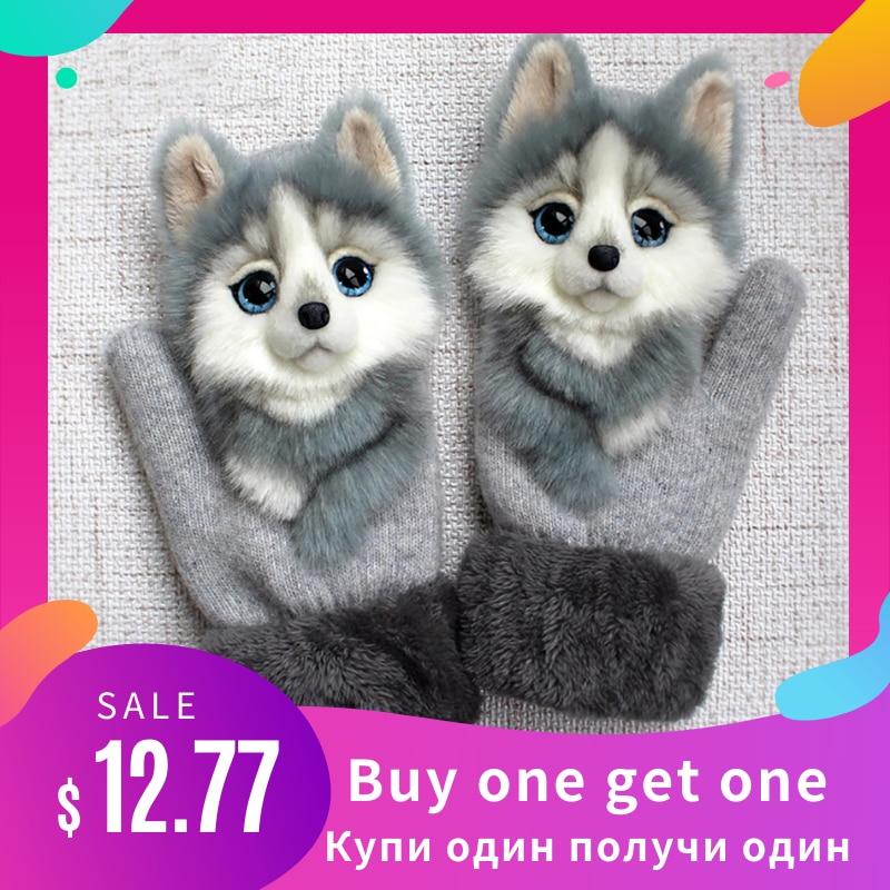 Women Winter Gloves Ladies Girls Outdoor Thick 3D Cartoon Cat Warm Mittens Thicken Men And Women Gloves Christmas Gifts