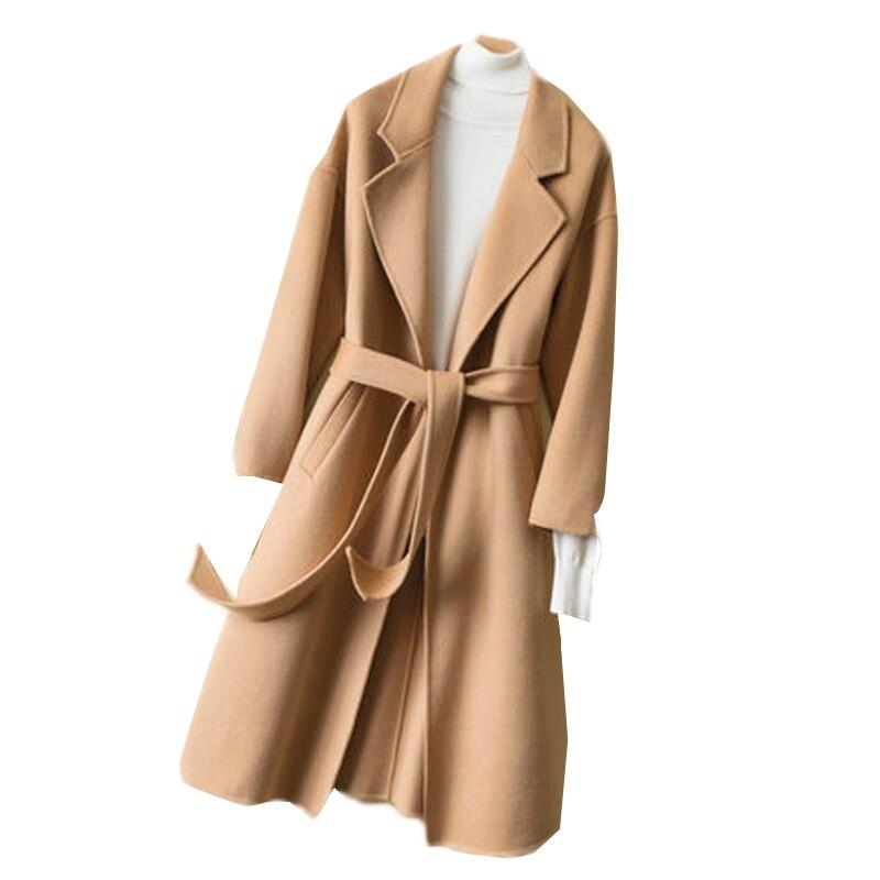Abrigo de lana largo y delgado para mujer, chaqueta de moda con...